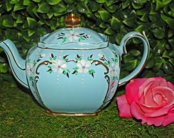 Sadler - Rare Blue Cube Teapot