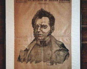 Antique Vicente Guerrero Poster, Mexican Art, Mexican Revolution, Mexican Generals, Vicente Guerrero