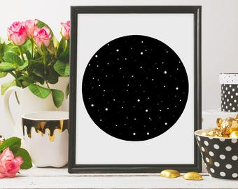 Constellation Wall Art, Circle wall art, Black and White, Constellation Print, Black Ink, Stars Wall Print, Constellation printable art, b&w