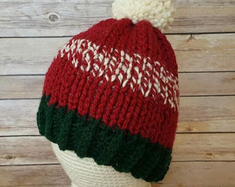 Christmas Hat, Winter Hat, Christmas Knitted Hat, Green Red Christmas Hat, Red and Green Hat, Knit Hat, Ready To Ship