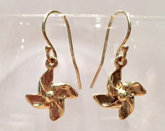 Earrings gold filled 14K Golden propeller galvanized gift female gift girl birthday special occasion