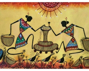 Warli Warli Warli - Original Warli Art painting (Series 3 #2) by our shop's own Artisan - 'Sowing Seeds' Acrylic on Canvas - ideal Christmas