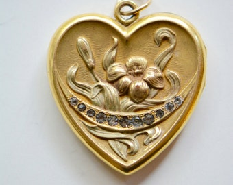 Victorian Gold Fill Heart Locket with Paste Stones WS&B