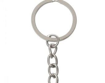 5/10/20 Bulk Key Chains, Key Rings, Round, Silver Tone 5.1cm x 2.4cm