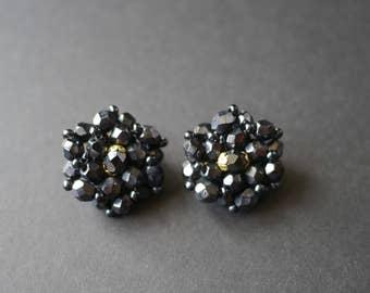 Black glass cluster beaded multifaceted earrings, clip on