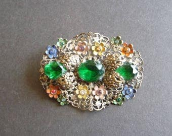 Pretty floral Czech vintage brooch with green rhinestones and painted enamel flowers