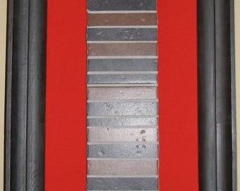 Original abstract artwork - mixed media Art-colere-tissu-mosaique-rouge-gris-survivance-l'art beautify
