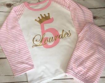 Personalised Girls Pyjamas, personalised girls pjs, Birthday Princess pyjamas, girls nightwear, birthday gift, personalised girls clothing