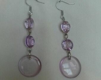 Clear purple drop earrings