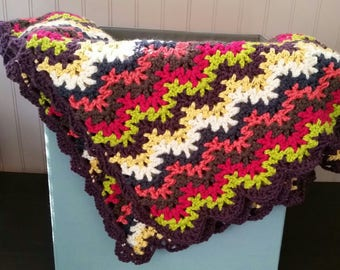 Multi-Color Crochet Throw Blanket