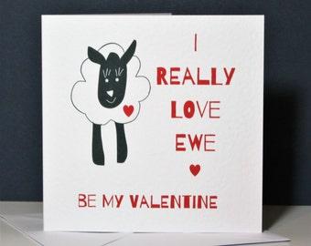 I Really Love Ewe Valentine's Card, funny animal card, funny valentine's card, love ewe valentine's card, be my valentine, I love you card