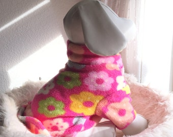 Pet Fleece Shirt - Pink w/Flowers
