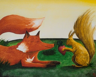 Fox and squirrel [original watercolour cm 24x18]