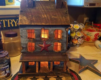 Primitive Salt Box House with Porch
