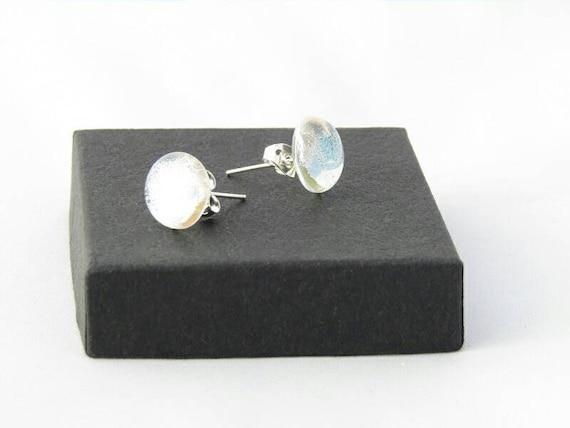 Silver clear dichroic stud earrings