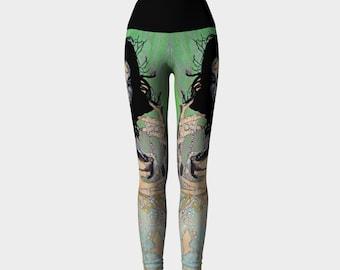 Bjork in Green and Violet Print Leggings