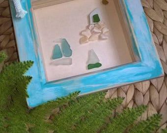 sail boat and church sea glass art