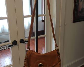 Vintage 1970's Handmade Leather Handbag