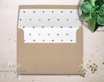 printable envelope liners printable envelope inserts gold hearts gold foil wedding envelopes diy wedding invitation printable party invites