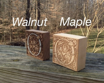 Maple or Walnut custom engraved wood blocks - rustic home decor - names, initials, great for housewarming!
