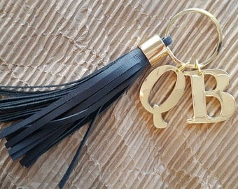 Personalized 2 Initials Key Ring Leather Tassel