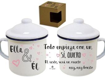 "Original gift: metal mug with Retro - Vintage ""Él & Ela"". Fully customizable as you want"