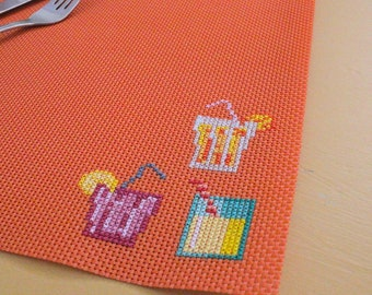 Placemat, Summer Placemat, Orange Placemat, Embroidery Placemat