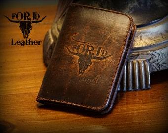 Engraved Front Pocket Leather Wallet, Leather Wallet, Vintage Leather Wallet,