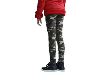 Girls Extra Long Camouflage leggings - Slouchy leggings - Kids Camo Leggings -