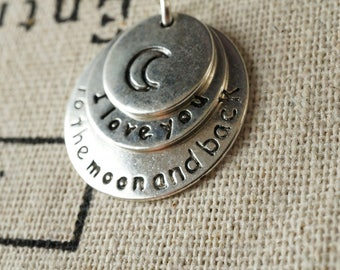 I love you to the moon and back  silver charm jewellery supplies C141