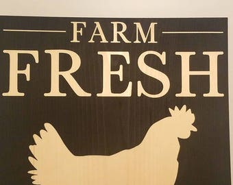 Farm fresh eggs home decor, wall hanging.