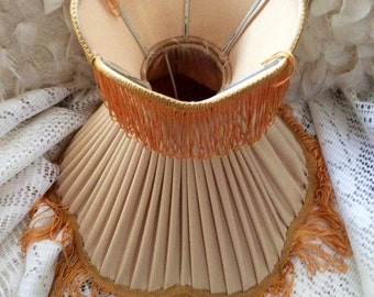 Vintage fabric lampshade with tassels