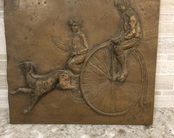 Vintage Penny Farthing Bicycle Relief Sculpture