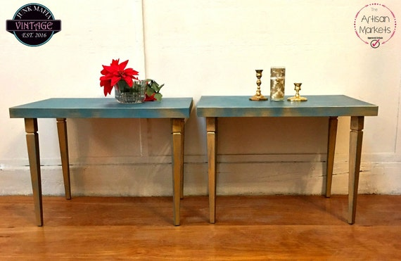 Mid Century Modern End Tables Boho Side Tables Gold Turquoise