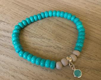 Bracelet turquoise, beadsbracelet, yoga bracelet