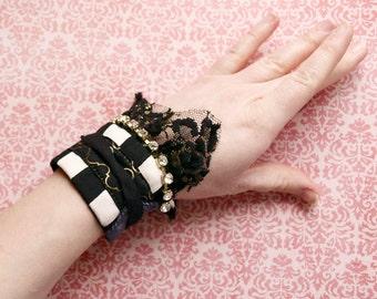 Vaudeville Punk Adjustable Wrap Cuff Bracelet - Gypsy Boho Bellydance Jewelry - Handmade in Kansas, USA - Moth & Rust Designs