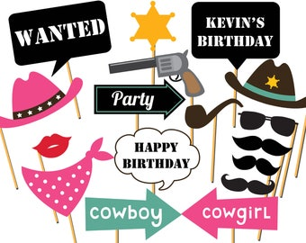 Large Cowboy photo booth props, Western party, cowgirl, rodeo Photo Booth Props, Cowboy Props,  wild west props, birthday photo prop ;100201