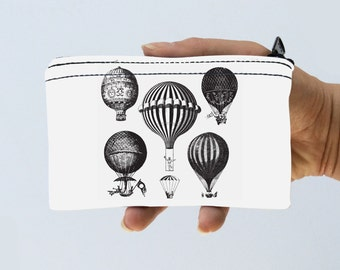 Hot Air Balloon Little Zipper Pouch - Vintage Hot Air Balloons Coin Purse - Gadget Case Padded - Travel Pouch