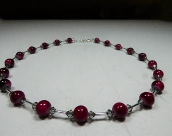 Glass Pearl Necklace red ca 8 mm