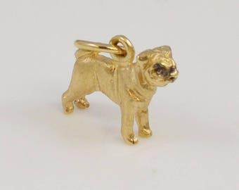 14k Yellow Gold Boston Terrier Dog Pendant 3.1 Grams(01161)