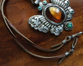 Antique Tibetan Solid Silver, Turquoise, and Amber Pendant