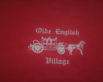 Olde English Village Red and White Vintage T-shirt from Screen Stars Medium Made in USA Cotton Blend