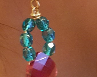 Blue, pink, and gold jewl earrings