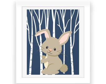 Baby Room Woodland Wall Decor - Digital Print - Baby Nursery Decor - Forest Animals - Bunny Print - Baby Room Art - Baby Print - Nursery Art