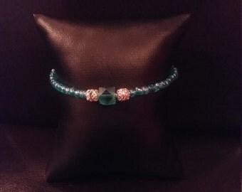 Blue green beaded bracelet now on sale.  Was 12.75 now 11.75