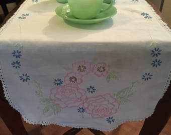 Beautiful Embroidered Rose Table Runner