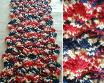 Zig-zag knitting PDF pattern for winter chunky cowl, neckwarmer, scarf, mohair scarf. 1 pattern 2 different yarns