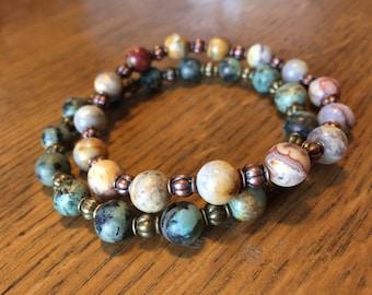crazy lace agate, bohemian bracelet, hippie bracelet, boho bracelet, rustic jewelry, boho jewelry, charity bracelets, proceeds to charity.
