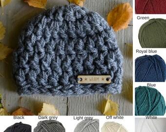 Crocheted Hat Baby 0-6 months Acrylic WAARM Winter Autumn Fall Dark Grey