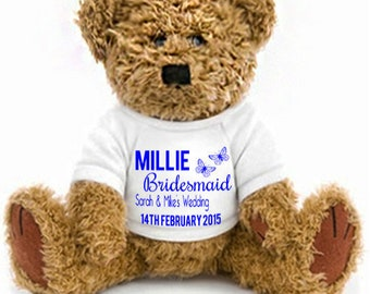 Personalised Bear Wedding Favour Bridesmaid, Flower Girl, Page Boy, Usher, Gift Idea By Inspired Creative Design